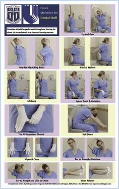 Figure 2. Quick Stretches for Dental Staff (Reprinted courtesy of the Duke Ergonomics Program, Duke University.)
