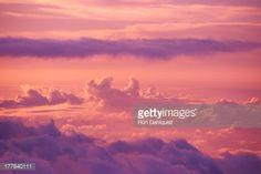 Stock Photo : Hawaii, Maui, Haleakala, pink and purple afternoon cloud formations
