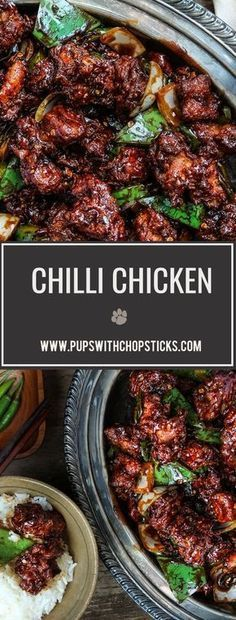A popular and delicious Hakka, Indian Chinese takeout dish, Chilli chicken is made with deep fried chicken chunks tossed in a spicy chilli sauce.
