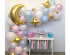 Moon and Star DIY Balloon Garland Kit Perfect for Over the Gender Reveal Balloons, Gender Reveal Party Decorations, Baby Gender Reveal Party, Balloon Decorations, 16 Balloons, Custom Balloons, Star Garland, Balloon Garland, Twinkle Twinkle Little Star