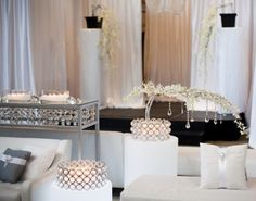 Love the horizontal florals & crystals.