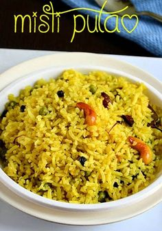 Bengali Mishti Pulao Bengali Sweet Pulao Misti Pulao or Bengali style sweet pulao is a popular Bengali rice preparation marked for its mellow sweet taste and appetizing flavors. It is also referred to as Basanti Pulao or Holud Pulao. Cooked Rice Recipes, Lunch Recipes, Cooking Recipes, Indian Veg Recipes, Asian Recipes, Puran Poli Recipes, Healthy Indian Snacks, Paneer Biryani, Speedy Recipes
