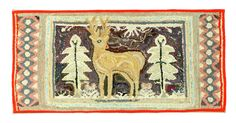 """Sold for 470 FOLKSY HOOKED RUG. American, early 20th century, wools, cottons and knits on burlap. Blue-eyed deer flanked by pine trees. Sawtooth side borders. Mounted for hanging. 19""""h. 38.5""""w. Estimate $ 300-600 Rebound with red wool."""