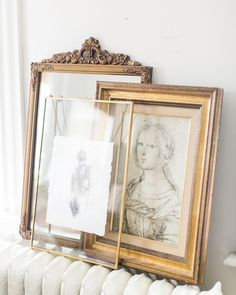 Layered Vintage gold frames | Drawing by Jess Blazejewski | Photo by Ruth Eileen Photography #gold #vintage #gallerywall #artwork
