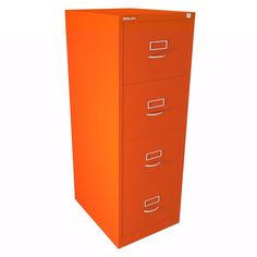 Bisley BS Series 4 Drawer Filing Cabinet - Mandarin - Classic Handles | One of Bisley most vibrant colours!!
