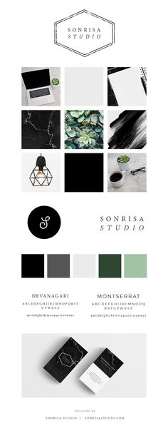 Graphic design studio brand board. Modern simple logo design with computer images, succulents, and simple branding.
