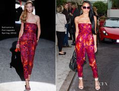Cassie donned a very exotic look wearing a Salvatore Ferragamo Spring 2012 jumpsuit  - Martinez Hotel