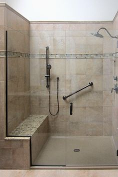 Remodeled Bathrooms With Showers stone tile walk-in shower design | kenwood kitchens in columbia