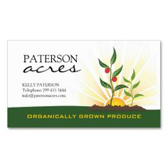 Organic Farmers Business Card. This is a fully customizable business card and available on several paper types for your needs. You can upload your own image or use the image as is. Just click this template to get started!