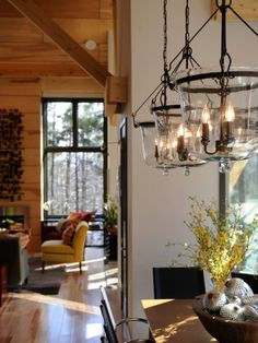 Love the light fixtures over the dining room table....
