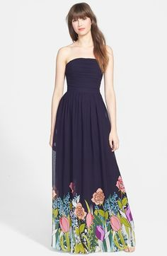 ERIN erin fetherston 'Isabelle' Print Strapless Gown available at #Nordstrom