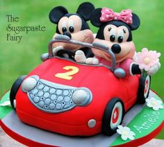 Mickey and Minnie Mouse Car Cake