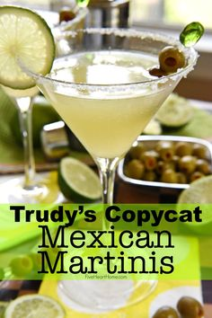 Like a margarita on the rocks with a splash of olive juice, this Mexican Martini is a copycat recipe of the famous cocktail from Trudy's in Austin. Mexican Cocktails, Famous Cocktails, Fun Cocktails, Fun Drinks, Yummy Drinks, Beverages, Cocktail Drinks, Mixed Drinks, Mexican Martini Recipe