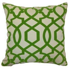 """Bold and interesting, this Moorish Tile throw pillow will add a contemporary flair to your home. This accent pillow features a refreshing Keylime hue perfect for the holiday season. This decor pillow is made from 100% soft cotton fabric. Decorate this square pillow on top of your favorite home furnishings for a touch of elegance. This 18"""" pillow is great for formal and casual settings. $55.00 #pillows #tosspillow #geometric #green"""