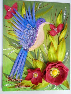 Tela Decorada com Beija-flor e flores de Eva