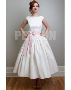 Boatneck tafetta ball gown with sash