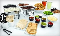 Qdoba offers buffet-style Hot Taco, Nacho and Naked Burrito® Bars that bring flavorful and fresh Mexican options to your guests, allowing them to create a dish sure to satisfy their taste buds. Bar Catering, Burrito Bar, Taco Bar Party, Dessert Drinks, Dessert Plates, Team Dinner, Nacho Bar, Cinco De Mayo
