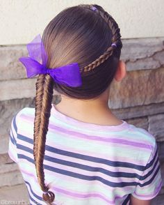 Today is the last day of school and I couldn't be more excited!! Love having my littles all to myself!  Combo braid wrapped around I to a side fishtail braid.