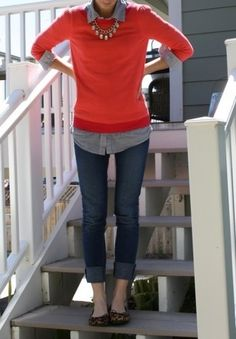 chambray shirt, red