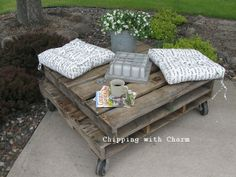 Chipping with Charm: Our First Pallet Project...coffee table or comfy perch...http://www.chippingwithcharm.blogspot.com/