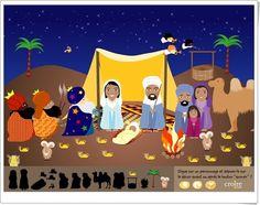 """""""Le grand crèche de Noël"""", de croire.com, es un bonito Portal de Belén, ambientado en el desierto, que ha de ser compuesto con las figuras adecuadas y puede ser animado. Además, otro modelo puede ser coloreado y se puede imprimir. Portal, Family Guy, Fictional Characters, Art, Christmas Games, Interactive Activities, Wilderness, Bonito, Manualidades"""
