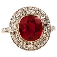 1915 French BURMA RUBY Edwardian Diamond Ring.