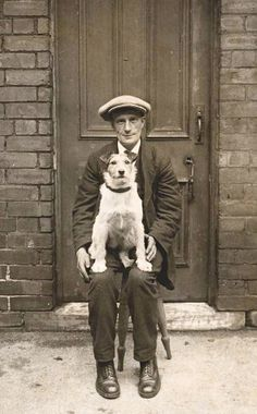 +~+~ Vintage Photograph ~+~+  Man and his sweet doggie.