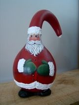 hand painted Santa gourd....seasonal gourds and other gift items available in my Etsy Shop, WickedPainter