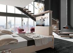 Amikor a kényelem és a modern technológia találkozik! Nyomd meg a háttámlán lévő gombot és varázsold elő fekvés közben az ágy végéből a tévét. Emeld fel az ágy motoros rácsát ülő helyzetbe és éld át az igazi moziélményt otthon! Loft, Bed, Modern, Furniture, Home Decor, Luxury, Trendy Tree, Decoration Home, Stream Bed