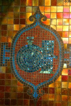 Corning Glass Works   Corning Glass Works arch mosaic of chemistry glass objects. Corning ...