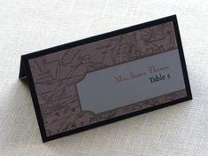 Vintage Map Place Card - Destination Travel Wedding Tent Name Card - Escort Card - Custom Colors
