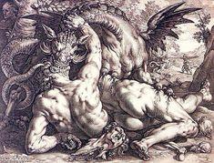 Hendrik Goltzius, Dragon Devouring The Companions of Cadmus (After Cornelis van Haarlem), 1588.