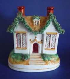 Image detail for -Unusual 19th Century Staffordshire Pottery Cottage Moneybox c1870