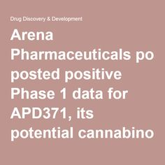 04/13/16 - Arena Pharmaceuticals posted positive Phase 1 data for APD371, its potential cannabinoid 2 (CB2) receptor pain drug.