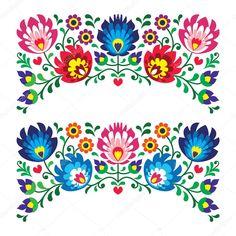 Download - Polish floral folk embroidery patterns for card — Stock Illustration #27383959