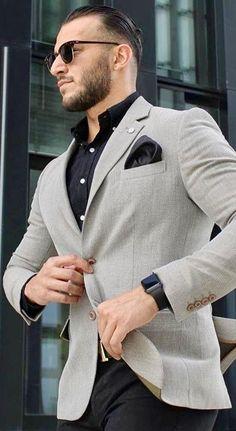 Grey sport coat and black pants. #mensfashion #menswear #mensguides #mensfashion_guide #bespoke #gentlemen #streetstyle #streetwear #summerstyle #giorgentiweddings
