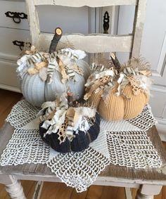 Sweater Pumpkins Set of 3 fabric pumkins lt grey yellow dark Sweater Pumpkins, Fall Pumpkins, Christmas Pumpkins, Easy Fall Crafts, Diy Arts And Crafts, Fall Halloween, Halloween Crafts, Pumpkin Crafts, Pumpkin Art
