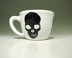 12oz cup skull black (white) - Made to Order / Pick Your Colour