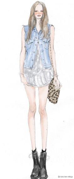 xunxun-Missy ζωγραφισμένα στο χέρι μόδα εικονογράφος