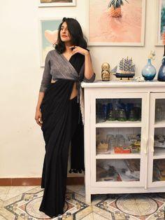 Groovy black colour stylish looking chanderi silk saree exclusive bridal lehenga designed by sashi vangapalli Dress Indian Style, Indian Fashion Dresses, Indian Designer Outfits, Designer Dresses, Fashion Outfits, Latest Indian Fashion Trends, Latest Designer Sarees, Indian Gowns, Fashion Clothes