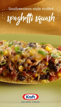 Southwestern-Style Stuffed Spaghetti Squash – Try Southwestern-Style Stuffed Spaghetti Squash if you are looking for a pasta alternative. Southwestern Stuffed Spaghetti Squash is filled with flavor. Vegetable Recipes, Mexican Food Recipes, Vegetarian Recipes, Cooking Recipes, Healthy Recipes, Paula Deen, Pasta Alternative, Spaghetti Squash Recipes, Vegetable Dishes