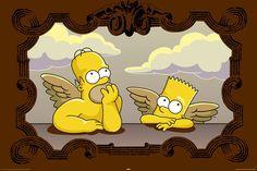 Alternative Angels, The Simpsons Poster The Simpsons, Bart Simpson, Sistine Madonna, Art Puns, Madona, Nerd Art, Futurama, Wallpaper, Painted Rocks