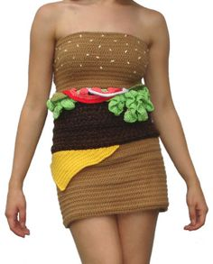 I'd wear this hamburger dress under my hamburger sweater with my hamburger makeup :)