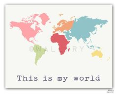 Kid wall art. World map print children wall art. Kid by Wallfry, $18.00