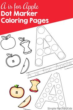 Study the letter A with this cute set of printable A is for Apple Dot Marker Coloring Pages. No prep, perfect for toddlers, preschoolers, and kindergarteners who are learning their alphabet. Alphabet Crafts, Alphabet Activities, Infant Activities, Letter Crafts, Literacy Activities, Letter A Coloring Pages, Apple Coloring Pages, Fun Activities For Preschoolers, Autumn Activities For Kids