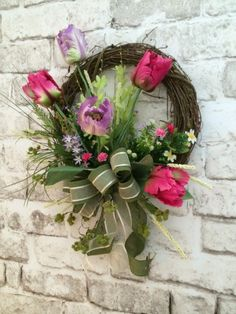 Tulip+Spring+Wreath+Easter+Wreath+Front+Door+by+AdorabellaWreaths,+$159.50