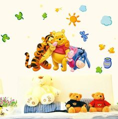 winnie the pooh bear wall sticker child role of children's diy adhesive art mural poster picture removable wallpaper baby room