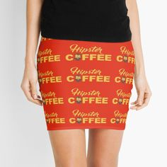 'Coffee for hipsters' Mini Skirt by StefaniaAlina Coffee Time, Knitted Fabric, Mini Skirts, Hipster, Printed, Knitting, Awesome, Shopping, Products