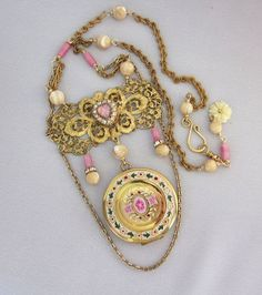 Repurposed Vintage Locket Assemblage Necklace - One of a Kind Designs by JryenDesigns