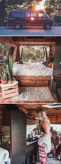 Van Life Discover 30 Of The Most Epic Bus And Van Conversions Complete with ovens closets beds and fold-out desks these converted mobile dwellings may inspire you to Marie Kondo your life and take a journey of your own. Camping Car Van, Camping Tools, Tent Camping, Fold Out Desk, Kombi Motorhome, Converted Vans, Kombi Home, Bus Living, Living In Van